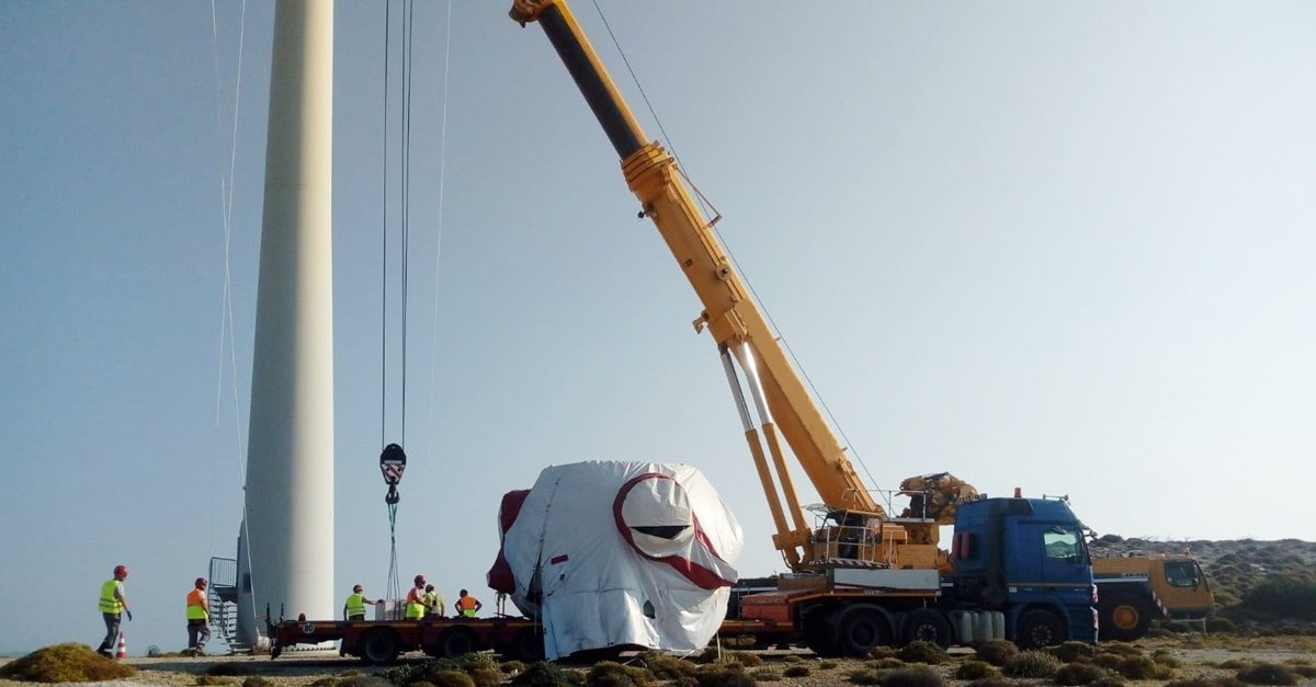 Road transport from Germany to Evia island Greece of a windmill generator